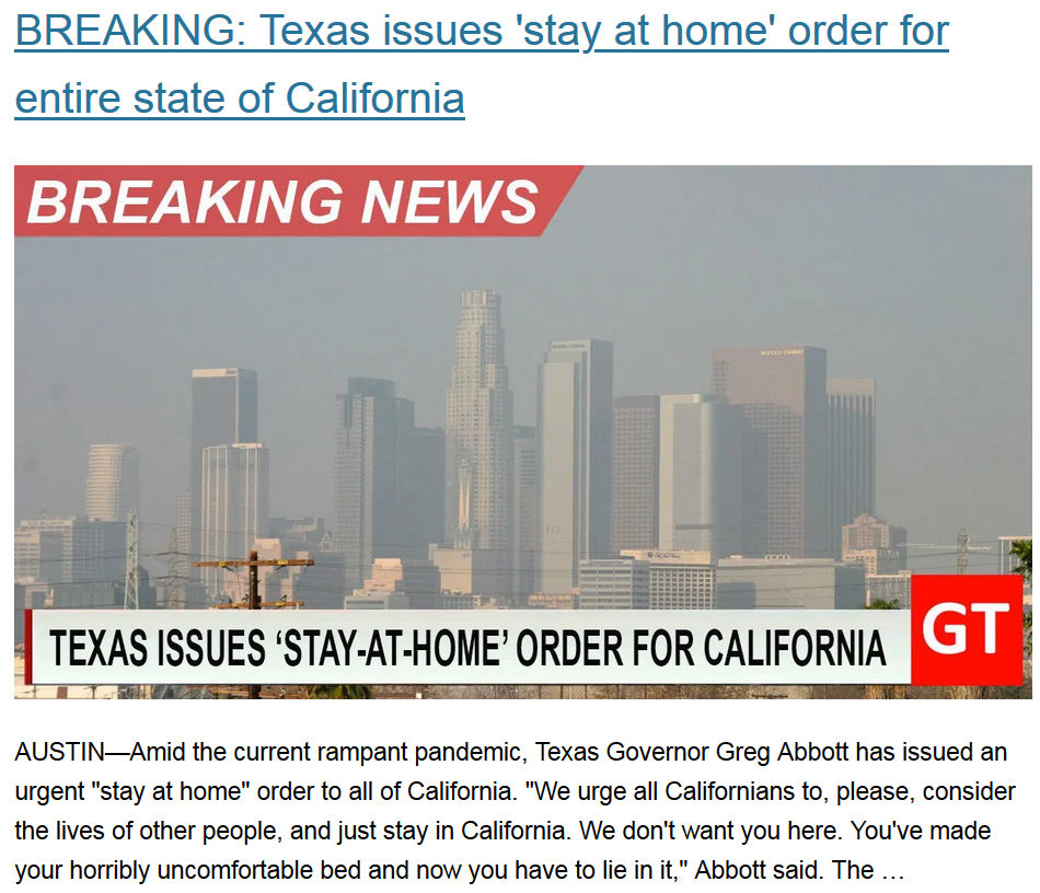 Texas vs. California, Part VII